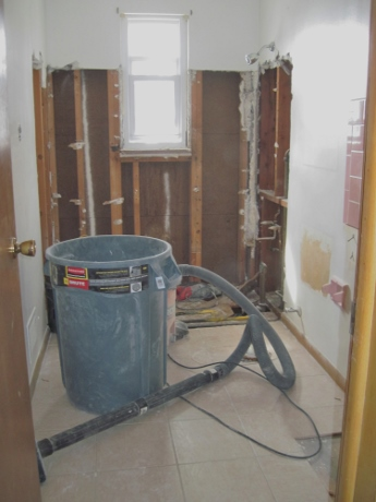 The upstairs bathroom, gutted.
